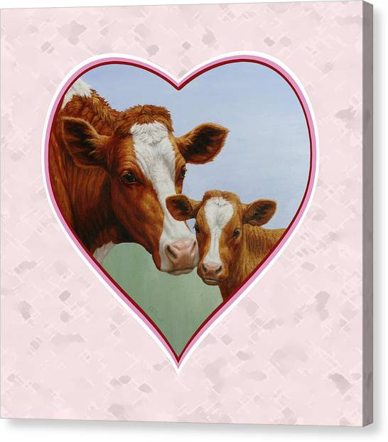 Brown Cow Canvas Print - Cow And Calf Pink Heart by Crista Forest