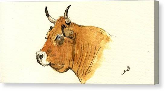 Cow Head Study Canvas Print by Juan  Bosco