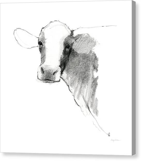 Cow Farms Canvas Print - Cow II Dark Square by Avery Tillmon