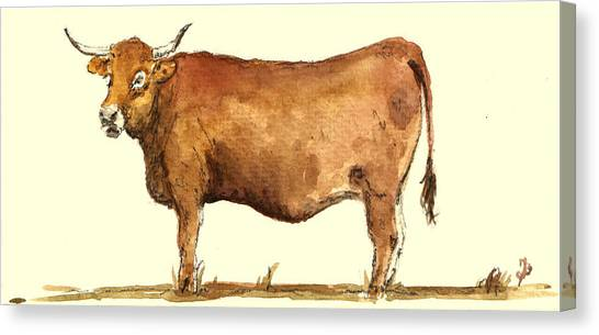 Farm Animals Canvas Print - Cow by Juan  Bosco