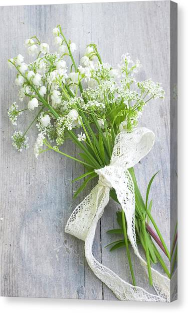 Wedding Bouquet Canvas Print - Cow Parsley Anthriscus Sylvestris, Lily by Juliette Wade