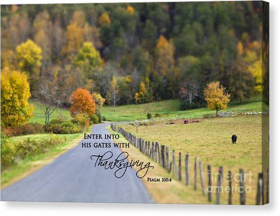 Cow Pasture With Scripture Canvas Print