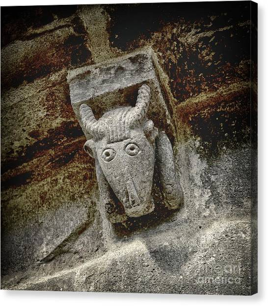 Romanesque Art Canvas Print - Cow Representation by Bernard Jaubert