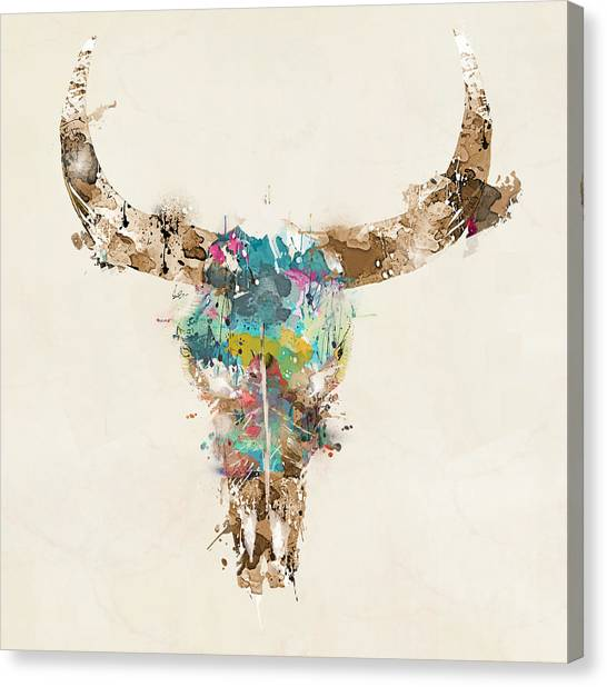 Skulls Canvas Print - Cow Skull by Bri Buckley