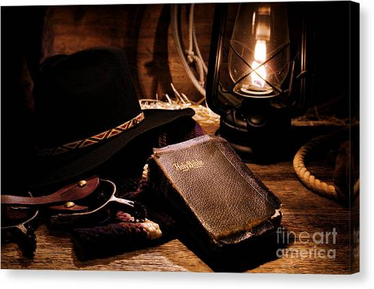 Cowboy Bible Canvas Print