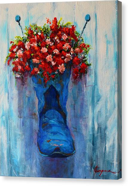 Cowboy Boot Unusual Pot Series  Canvas Print
