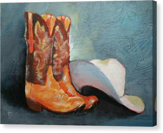 Cowboy Boots And Hat Canvas Print
