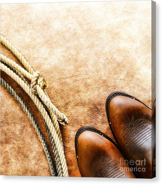 Cowboy Boots Canvas Print - Cowboy Boots And Lasso by Olivier Le Queinec
