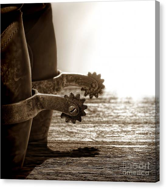 Cowboy Boots Canvas Print - Cowboy Boots And Riding Spurs by Olivier Le Queinec