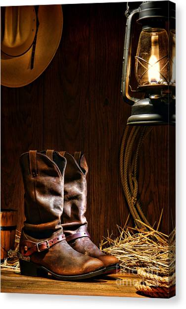 Spurs Canvas Print - Cowboy Boots At The Ranch by Olivier Le Queinec