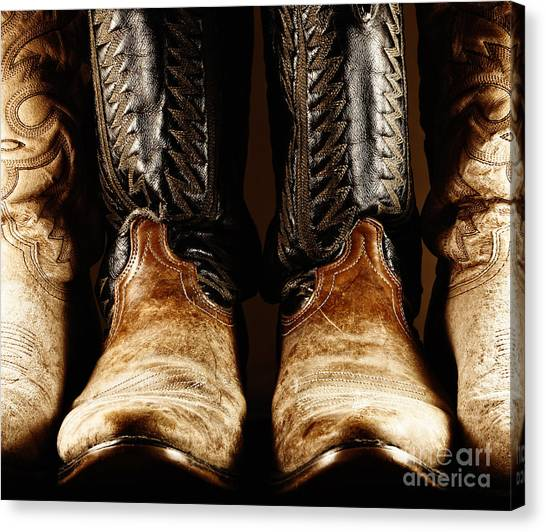Cowboy Boots In High Contrast Light Canvas Print
