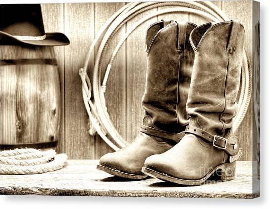 Cowboy Boots Canvas Print - Cowboy Boots Outside Saloon by Olivier Le Queinec