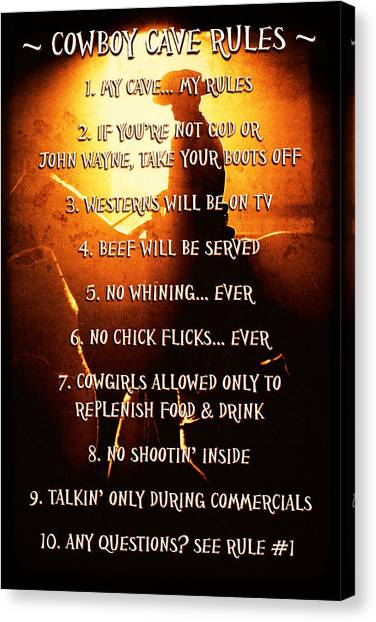 Cowboy Cave Rules By Lincoln Rogers Canvas Print
