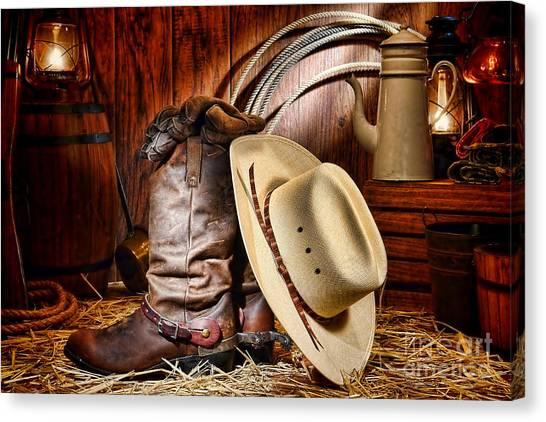 Cowboy Boots Canvas Print - Cowboy Gear by Olivier Le Queinec