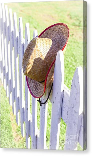 Backpacks Canvas Print - Cowboy Hat On Picket Fence by Edward Fielding