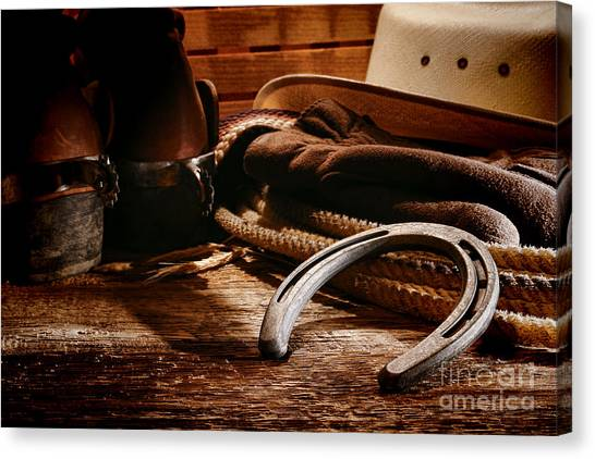 Spurs Canvas Print - Cowboy Horseshoe by Olivier Le Queinec