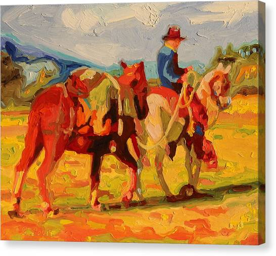 Cowboy Art Cowboy Leading Pack Horse Painting Bertram Poole Canvas Print