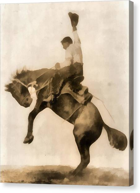 Bareback Canvas Print - Cowboy On Bucking Bronco by Dan Sproul
