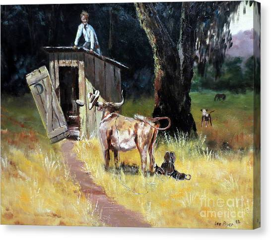 Lassos Canvas Print - Cowboy On The Outhouse  by Lee Piper
