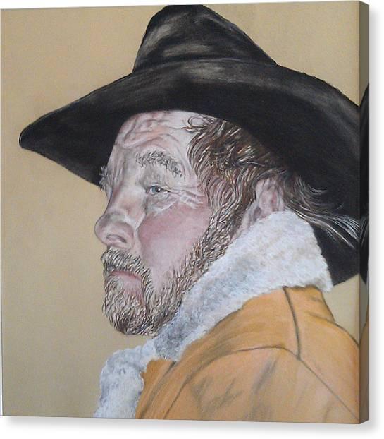 Cowboy Pastel Canvas Print by Ann Marie Chaffin