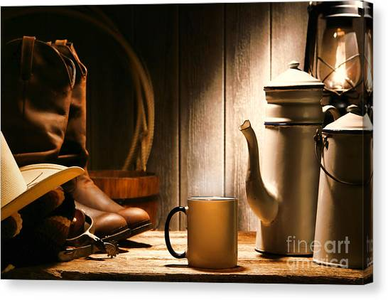 Cowboy Boots Canvas Print - Cowboy's Coffee Break by Olivier Le Queinec