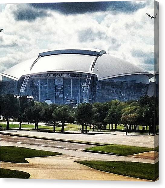 Football Players Canvas Print - Cowboys Stadium, Where I Will Be Sunday by Christopher Mad Plaid Anderson