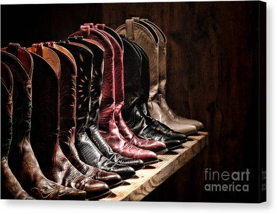 Rack Canvas Print - Cowgirl Boots Collection by Olivier Le Queinec