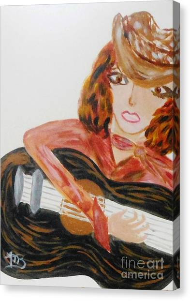 Cowgirl Singer Canvas Print by Marie Bulger