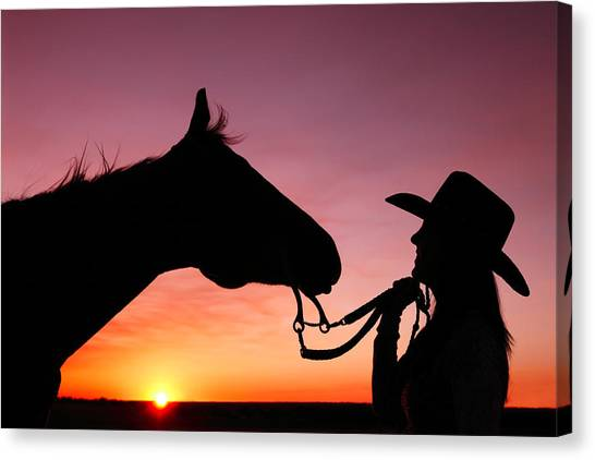 Horses Canvas Print - Cowgirl Sunset by Todd Klassy