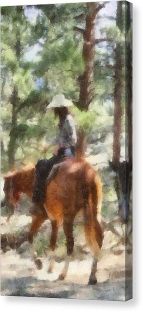 Colorado Cowgirl Canvas Print - Cowgirl Horseback Riding by Dan Sproul