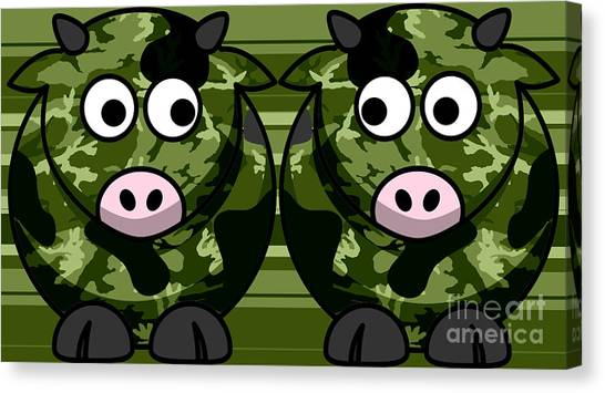 Green Camo Canvas Print - Cows In Green Camo by Anne Kitzman