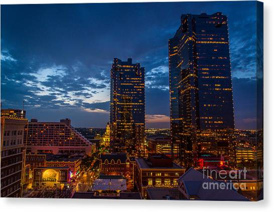 Cowtown At Night Canvas Print