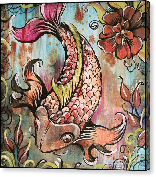 Fish Canvas Print - Coy Koi by Shadia Derbyshire