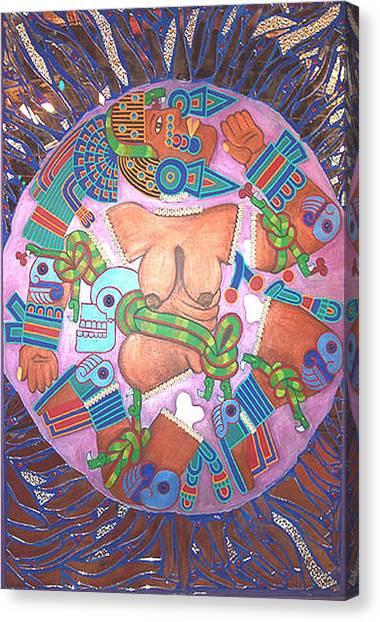 Warrior Goddess Canvas Print - Coyolxauhqui by Jane Madrigal