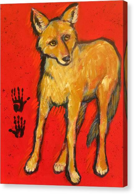Coyote And Hand Prints Canvas Print