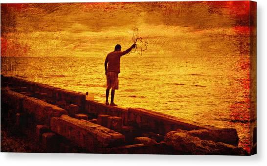 Crab Fishing At Siesta Keys Florida Canvas Print