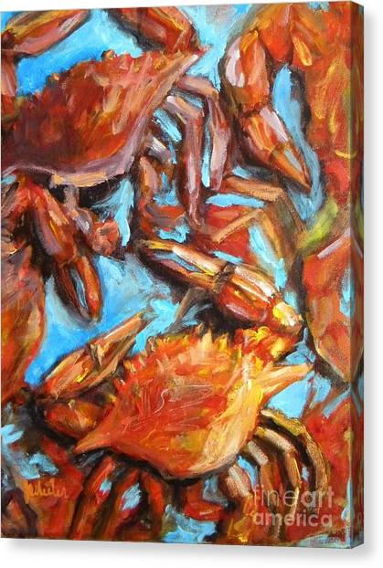 Oysters Canvas Print - Crab Pile by JoAnn Wheeler