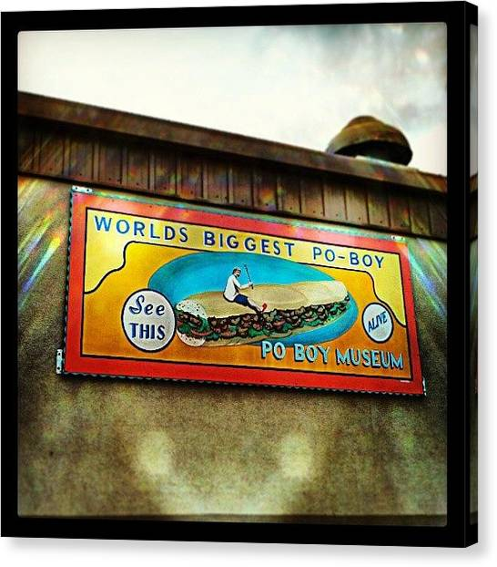 Sandwich Canvas Print - Crabby Jack's Restaurant New Orleans by Glen Abbott