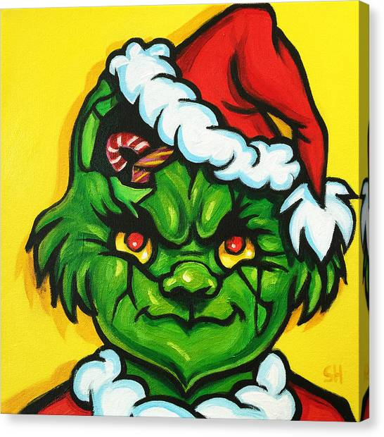 Grinch Canvas Print - Cracked Grinch by Steve Hunter