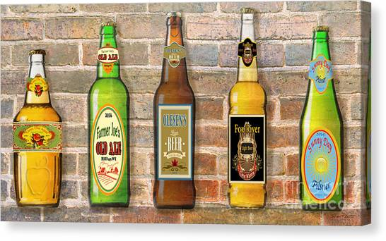 Craft Beer Canvas Print - Craft Beer Collection On Brick by Jean Plout