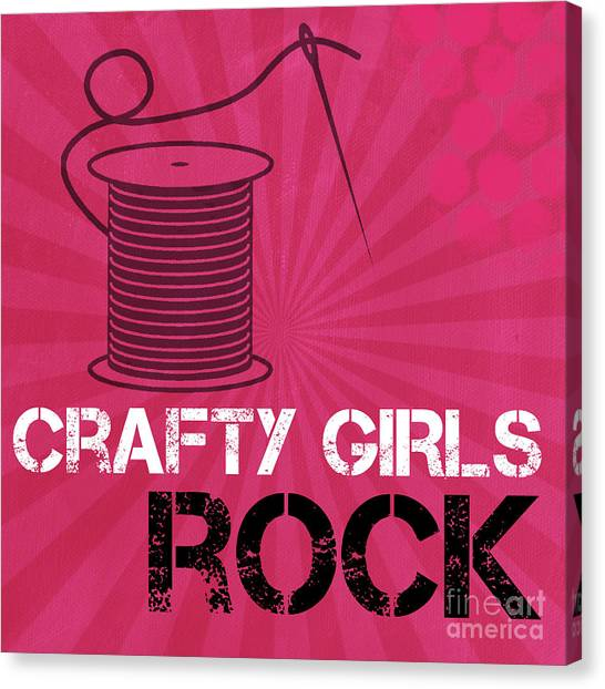 Sewing Canvas Print - Crafty Girls Rock by Linda Woods