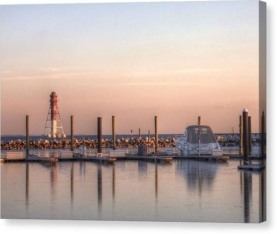 Craighill Channel Rear Lower Range Lighthouse Canvas Print by JC Findley