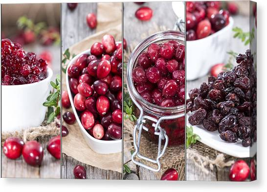 Cranberry Sauce Canvas Print - Cranberries Collage by Handmade Pictures