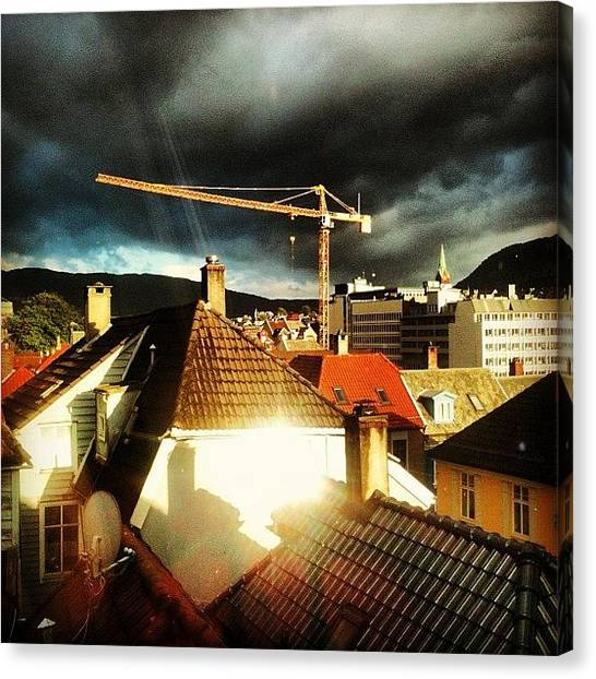 Thunderclouds Canvas Print - Crane In Thunderclouds And Sunset by Madam Pixel