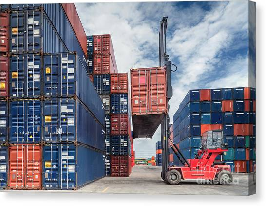 Crane Lifter Handling Container Box  Canvas Print