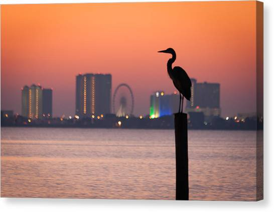 Crane On A Pier Canvas Print