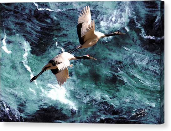 Cranes Over The Sea Of Japan Canvas Print