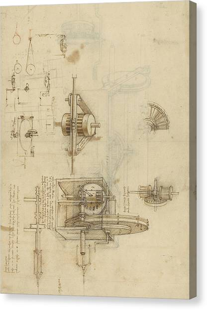 Ink Drawing Canvas Print - Crank Spinning Machine With Several Details by Leonardo Da Vinci