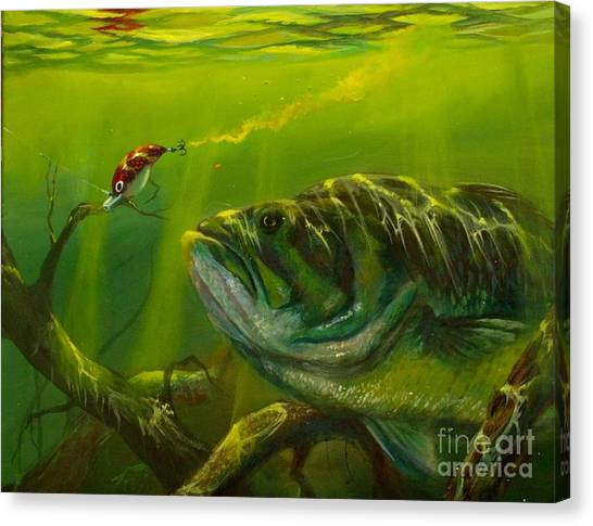 Bass Fishing Canvas Print - Cranking  by Yusniel Santos