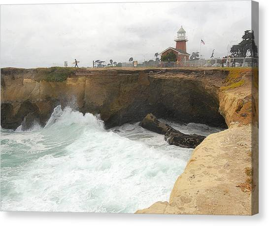 Surfboard Fence Canvas Print - Crashing Surf Near The Lighthouse by Ron Regalado